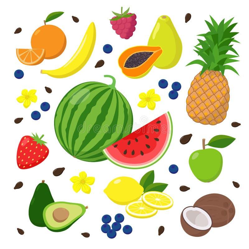 Σύνολο θερινών φρούτων και μούρων διανυσματικών απεικονίσεων που απομονώνονται στο άσπρο υπόβαθρο στο επίπεδο σχέδιο r ελεύθερη απεικόνιση δικαιώματος