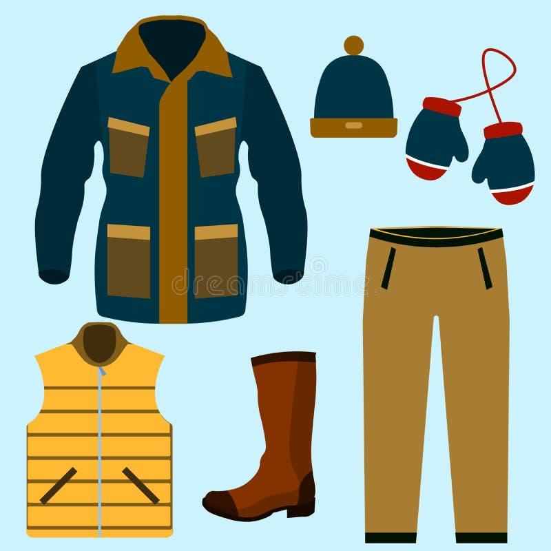 Σύνολο θερμού σχεδίου χειμερινών ενδυμάτων Μαντίλι και χειμερινή μόδα, χειμερινό καπέλο, χειμερινό παλτό, ύφασμα και καπέλο, σακά ελεύθερη απεικόνιση δικαιώματος
