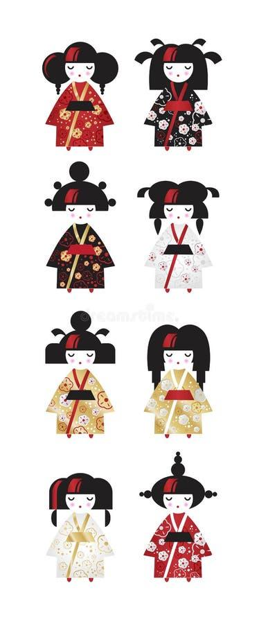 Σύνολο ιαπωνικών παραδοσιακών κουκλών Kokeshi στο εθνικό κιμονό κοστουμιών στο ύφος κινούμενων σχεδίων απεικόνιση αποθεμάτων