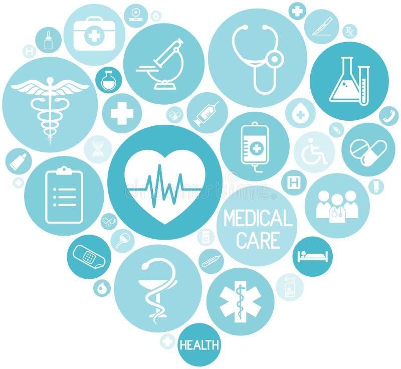 Σύνολο ιατρικών εικονιδίων στα κυκλικά μπλε χρωματισμένα κουμπιά που διαμορφώνουν μια καρδιά, ιατρική στοιχείων σχεδίου Ιστού διανυσματική απεικόνιση