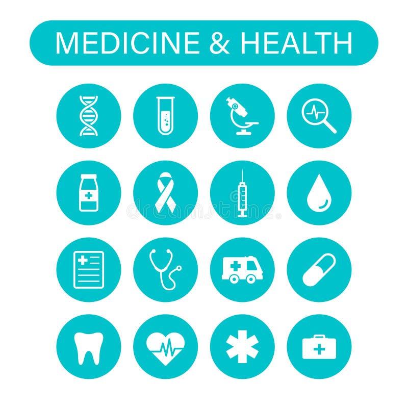 Σύνολο 16 ιατρικών και εικονιδίων Ιστού υγείας στο ύφος γραμμών Ιατρική και υγειονομική περίθαλψη, RX, infographic r διανυσματική απεικόνιση