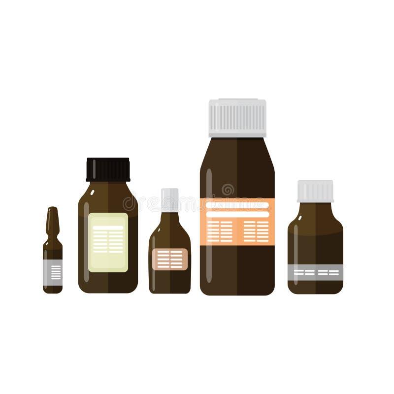 Σύνολο ιατρικών μπουκαλιών σε ένα απομονωμένο λευκό υπόβαθρο στοκ εικόνες με δικαίωμα ελεύθερης χρήσης