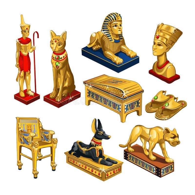 Σύνολο ιδιοτήτων και κοσμήματος στο θέμα της αρχαίας Αιγύπτου που απομονώνεται στο άσπρο υπόβαθρο Χρυσό ειδώλιο στη μορφή ελεύθερη απεικόνιση δικαιώματος