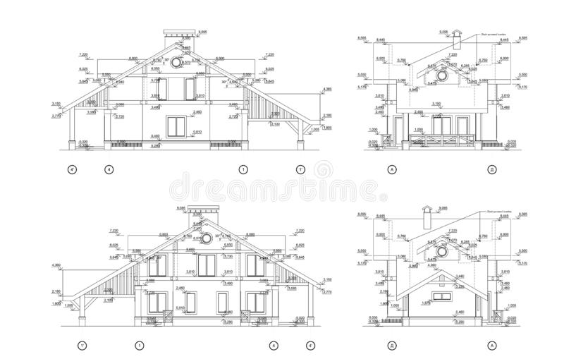 Σύνολο ιδιωτικών προσόψεων σπιτιών, λεπτομερές αρχιτεκτονικό τεχνικό σχέδιο, διανυσματικό σχεδιάγραμμα απεικόνιση αποθεμάτων