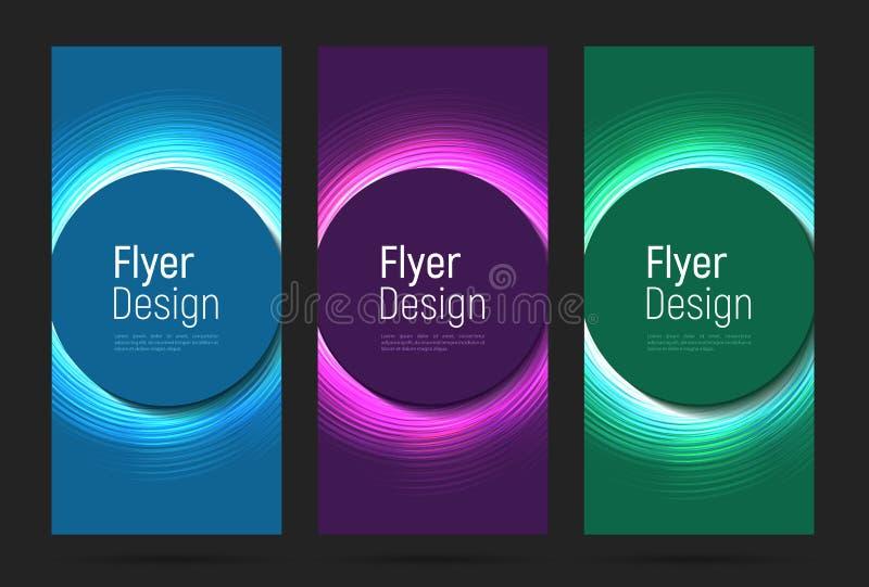 Σύνολο ιπτάμενων με τον καμμένος κύκλο νέου στα διαφορετικά χρώματα απεικόνιση αποθεμάτων