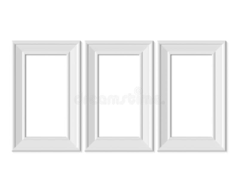 Σύνολο 3 κάθετο πρότυπο πλαισίων εικόνων πορτρέτου 1x2 Ξύλινου ή πλαστικού άσπρο κενό εγγράφου Realisitc, Απομονωμένη χλεύη πλαισ διανυσματική απεικόνιση