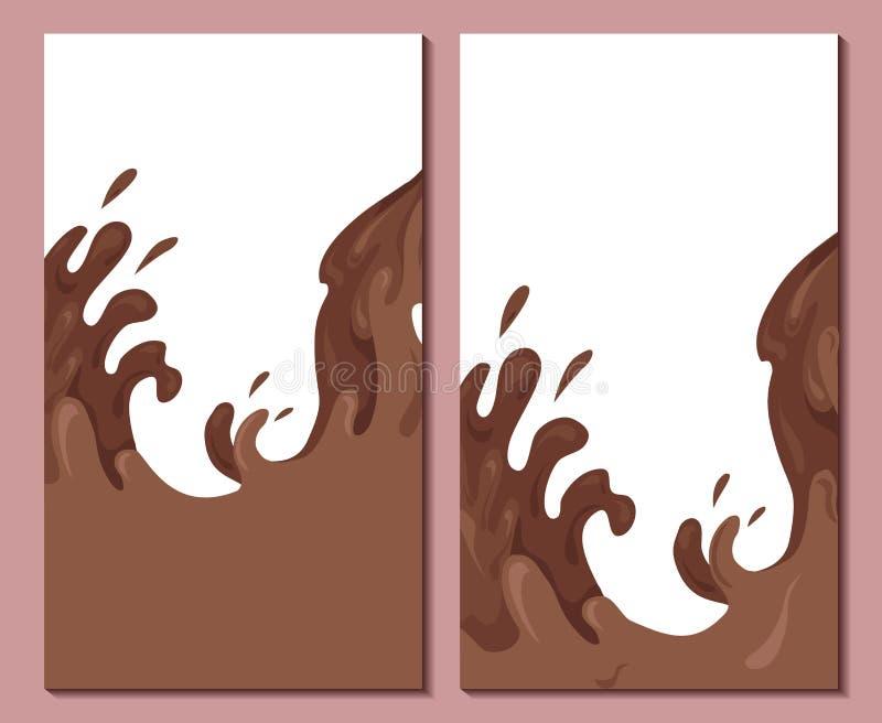 Σύνολο κάθετων εμβλημάτων με τα γλυκά κύματα της σοκολάτας Κάλυψη με τα ρεύματα και τις πτώσεις του νερού Διανυσματικό πρότυπο με ελεύθερη απεικόνιση δικαιώματος
