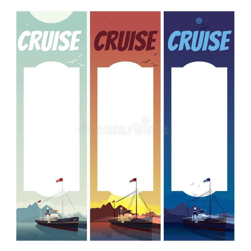Σύνολο κάθετων προτύπων με το παλαιό σκάφος ελεύθερη απεικόνιση δικαιώματος