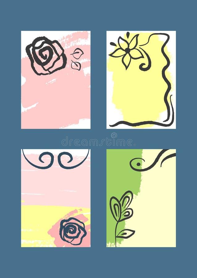 Σύνολο κάθετων floral προτύπων για το σχέδιο των υποβάθρων, καλύψεις, ιπτάμενα, εμβλήματα, βιβλιάρια απεικόνιση αποθεμάτων