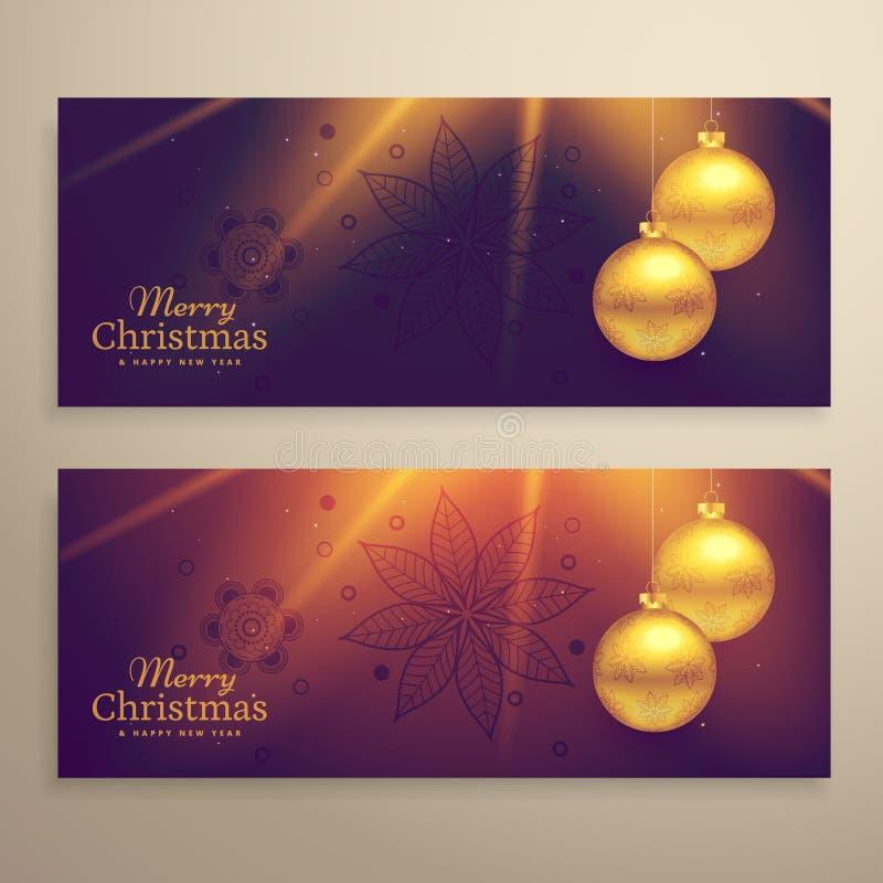 Σύνολο κάρτας δύο όμορφης Χριστουγέννων εμβλημάτων φεστιβάλ διανυσματική απεικόνιση