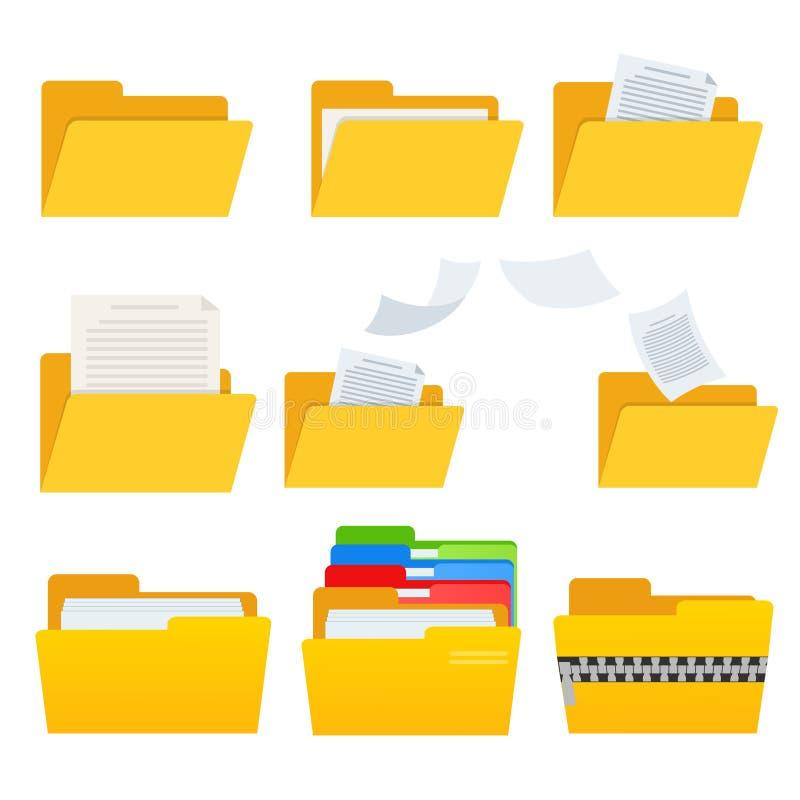 Σύνολο κίτρινου εικονιδίου φακέλλων υπολογιστών Ιστού με τα documets για το σχέδιο στο λευκό, διανυσματική απεικόνιση αποθεμάτων διανυσματική απεικόνιση