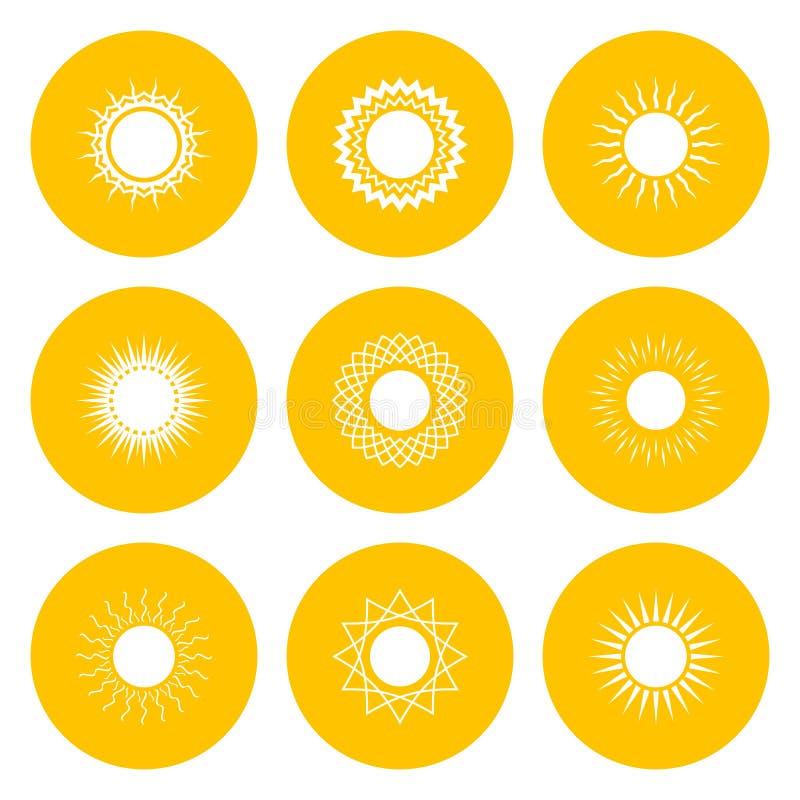Σύνολο κίτρινων εικονιδίων με τον ήλιο ελεύθερη απεικόνιση δικαιώματος