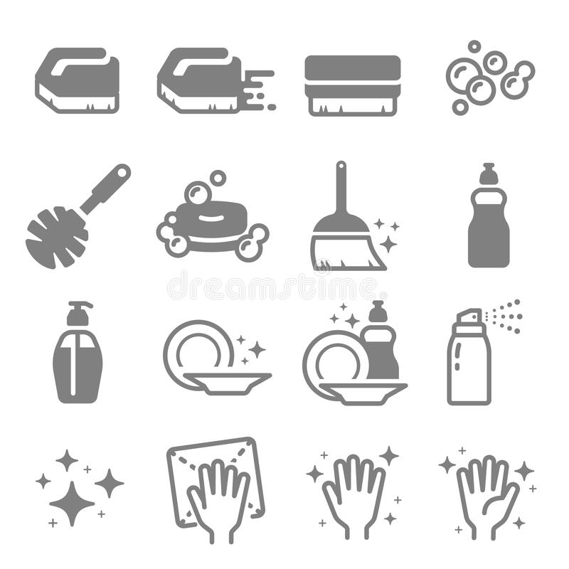 Σύνολο καθαρίζοντας διανυσματικών εικονιδίων γραμμών Βούρτσα, ψεκασμός, φυσαλίδες, καθαρή επιφάνεια, σαπούνι και περισσότεροι διανυσματική απεικόνιση