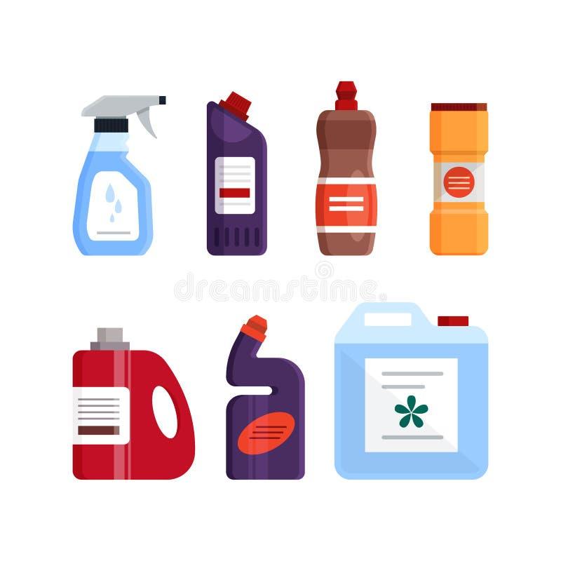 Σύνολο καθαρίζοντας εργαλείων, καθαριστικών και απολυμαντικών προϊόντων, οικιακός εξοπλισμός για την πλύση r ελεύθερη απεικόνιση δικαιώματος
