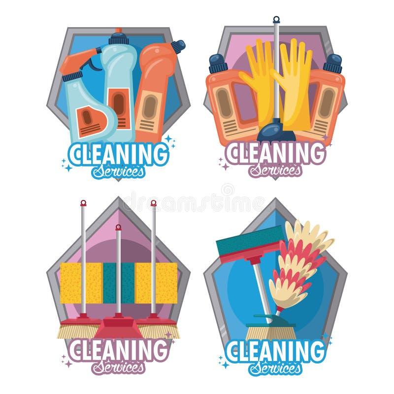 Σύνολο καθαρίζοντας υπηρεσίας και οικοκυρικής ελεύθερη απεικόνιση δικαιώματος