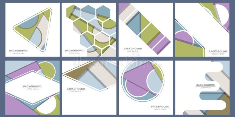 Σύνολο καθιερωνουσών τη μόδα καρτών με το επίπεδο δυναμικό σχέδιο Εφαρμόσιμος για τις καλύψεις, τις αφίσσες, τις αφίσες, τα ιπτάμ ελεύθερη απεικόνιση δικαιώματος