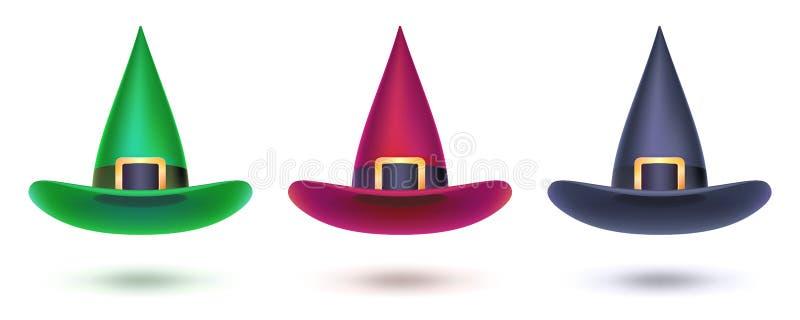 Σύνολο καπέλου μαγισσών Χρωματισμένα στοιχεία σχεδίου για τα γεγονότα αποκριών, τρισδιάστατη απεικόνιση Διανυσματικό σύμβολο αποκ ελεύθερη απεικόνιση δικαιώματος