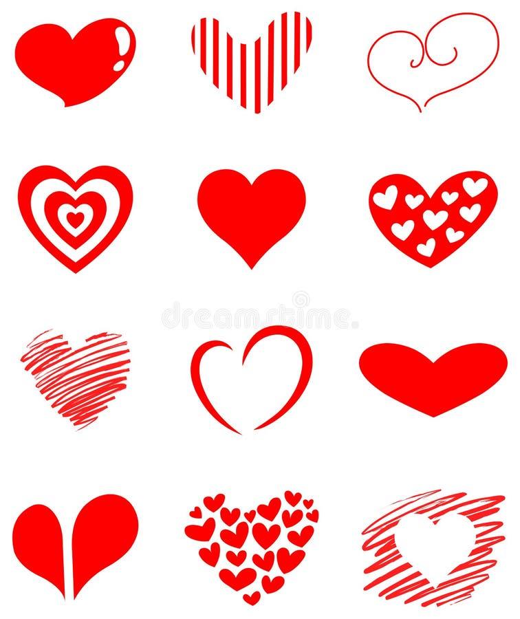 σύνολο καρδιών διανυσματική απεικόνιση