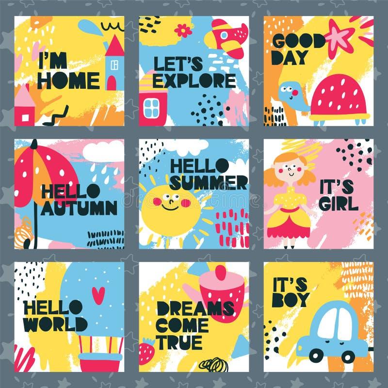 Σύνολο καρτών μωρών με το σπίτι, χρώμα, αυτοκίνητο, κορίτσι, αγόρι, κόσμος, ομπρέλα, χελώνα, θερινό ballon, χαριτωμένο, παιδί απεικόνιση αποθεμάτων