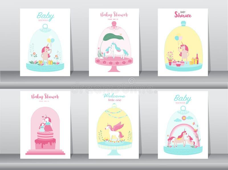 Σύνολο καρτών ντους μωρών, αφίσα, προσκλήσεις, κάρτες, πρότυπο, ευχετήριες κάρτες, ζώα, φαντασία, magica, χαριτωμένος αστείος μον ελεύθερη απεικόνιση δικαιώματος