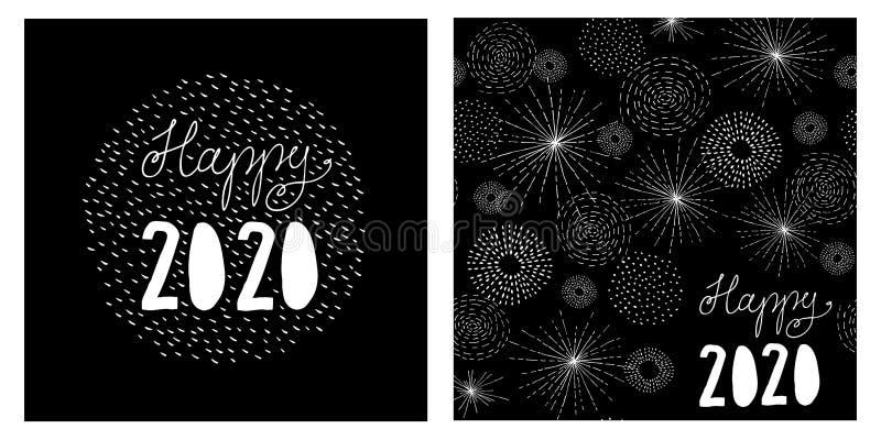 Σύνολο καρτών 2 Παραμονών Πρωτοχρονιάς Μαύρο υπόβαθρο με άσπρο χειρόγραφο ευτυχές το 2020 απεικόνιση αποθεμάτων