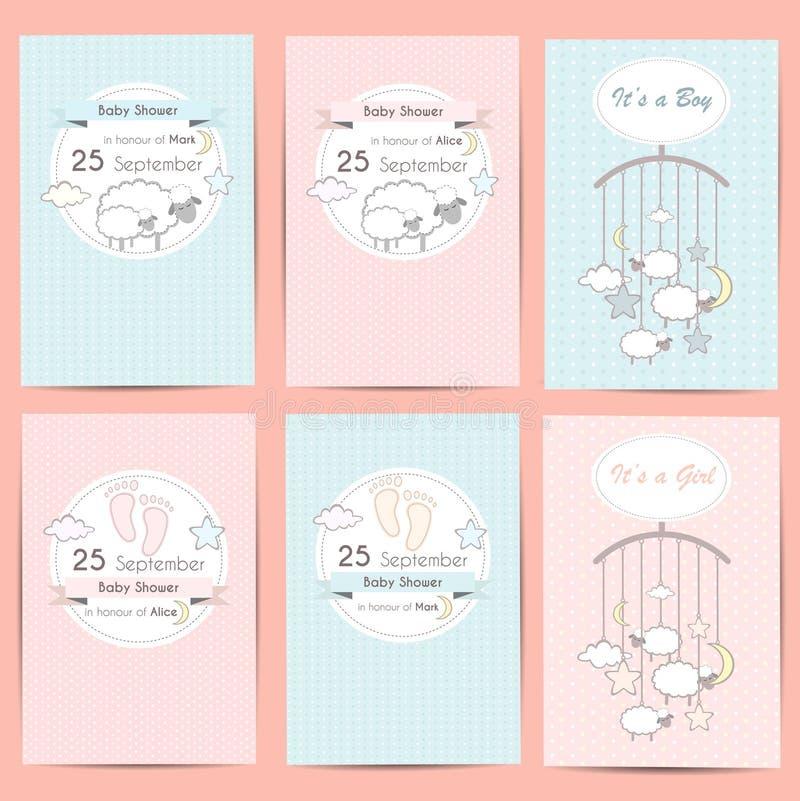 Σύνολο καρτών πρόσκλησης αγοριών και κοριτσιών ντους μωρών στοκ εικόνα