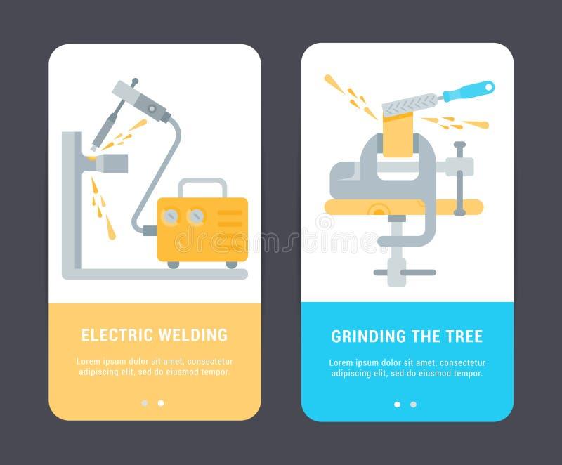 Σύνολο καρτών των εργαλείων κατασκευής ελεύθερη απεικόνιση δικαιώματος