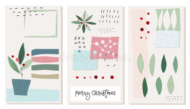 Σύνολο καρτών χειμερινής εποχής χιονιού δέντρων Χαρούμενα Χριστούγεννας διανυσματική απεικόνιση