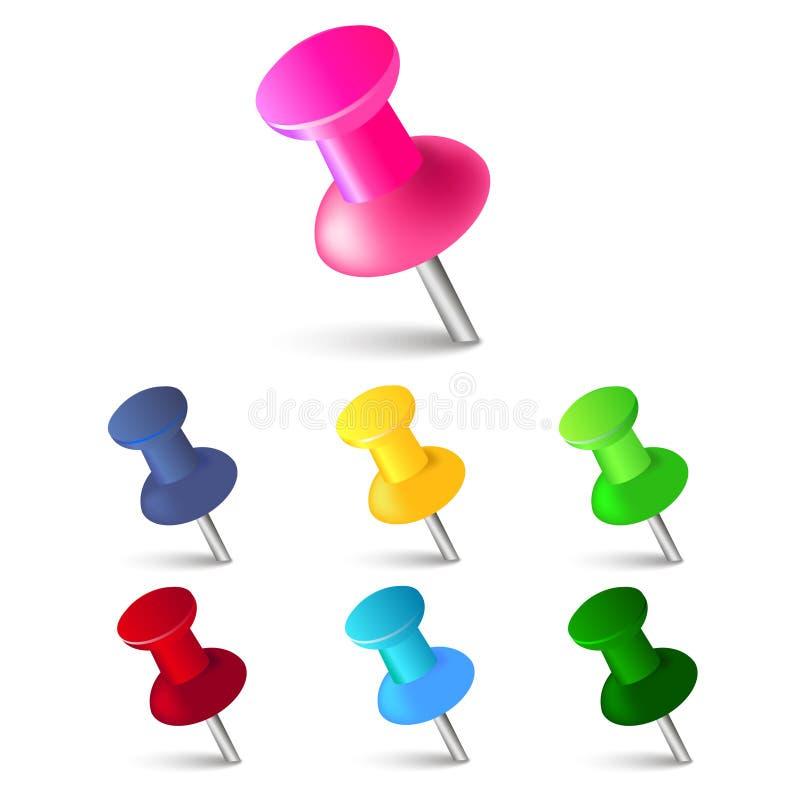 Σύνολο καρφιτσών ώθησης στα διαφορετικά χρώματα πινέζες Τοπ όψη επίσης corel σύρετε το διάνυσμα απεικόνισης διανυσματική απεικόνιση