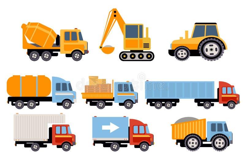 Σύνολο κατασκευής και μεταφορών φορτίου, βαρύς εξοπλισμός, διανυσματικές απεικονίσεις οχημάτων κατασκευής σε ένα άσπρο υπόβαθρο διανυσματική απεικόνιση