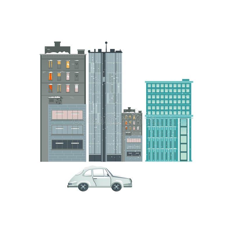 Σύνολο κατοικημένων και εμπορικών κτηρίων, αυτοκίνητο διανυσματική απεικόνιση