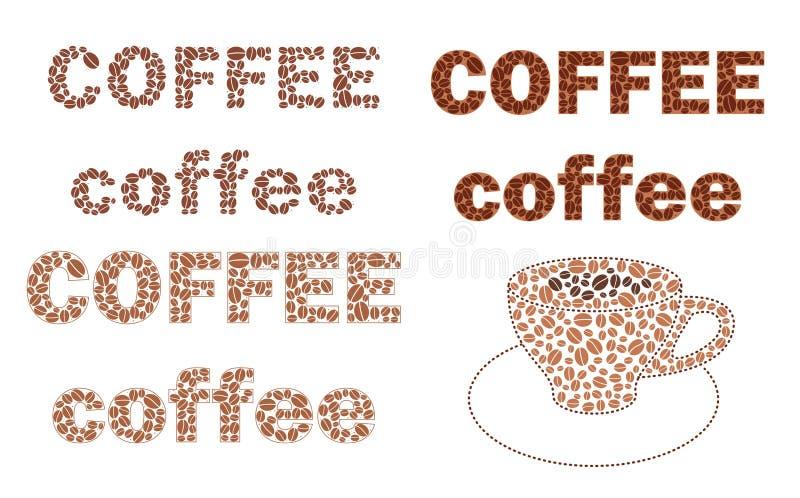Σύνολο καφέ λέξεων με τα καφετιά σιτάρια και το φλυτζάνι - διάνυσμα ελεύθερη απεικόνιση δικαιώματος