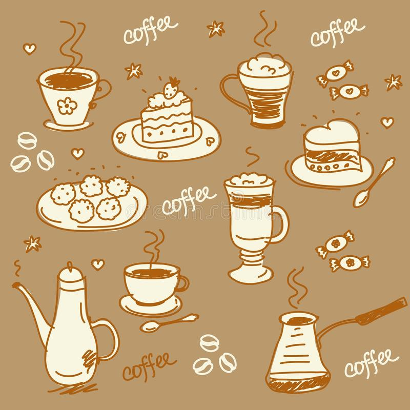 σύνολο καφέ διανυσματική απεικόνιση