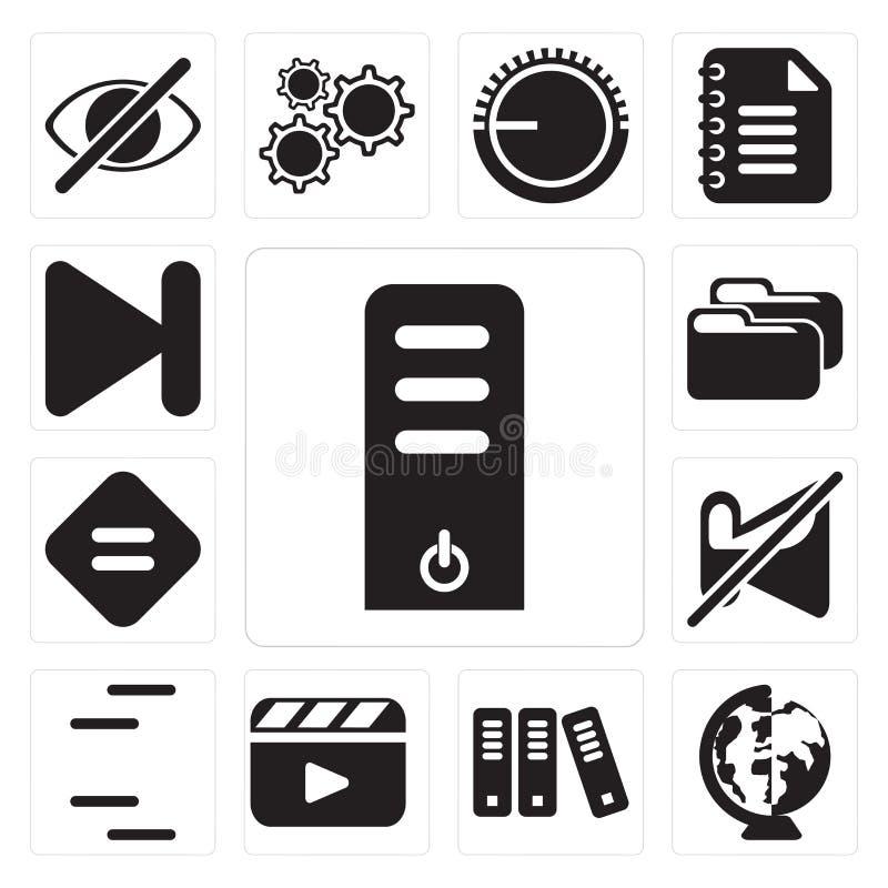 Σύνολο κεντρικού υπολογιστή, παγκόσμιο, αρχείο, video, γραμμές, που χαμηλώνουν, Ε απεικόνιση αποθεμάτων
