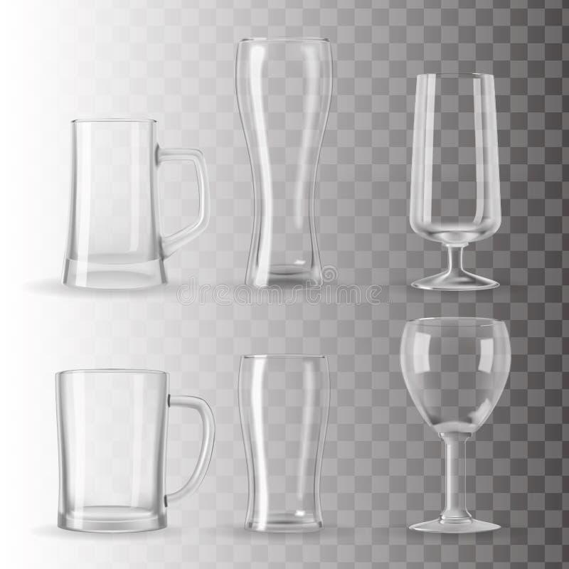 Σύνολο κενών διαφανών γυαλιών απεικόνιση αποθεμάτων