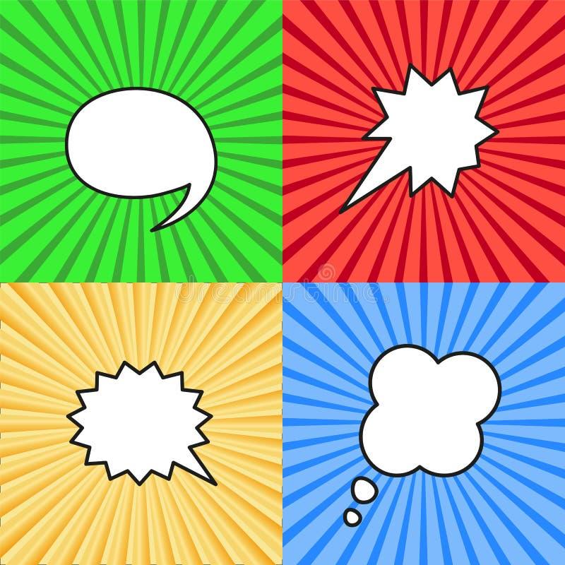 Σύνολο κενών λεκτικών φυσαλίδων στο λαϊκό ύφος τέχνης διανυσματική απεικόνιση