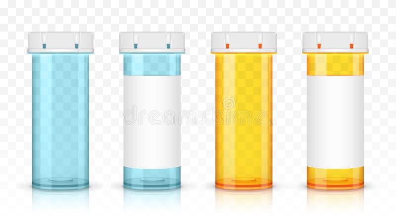 Σύνολο κενών μπουκαλιών ιατρικής Απομονωμένος στο διαφανές υπόβαθρο απεικόνιση αποθεμάτων