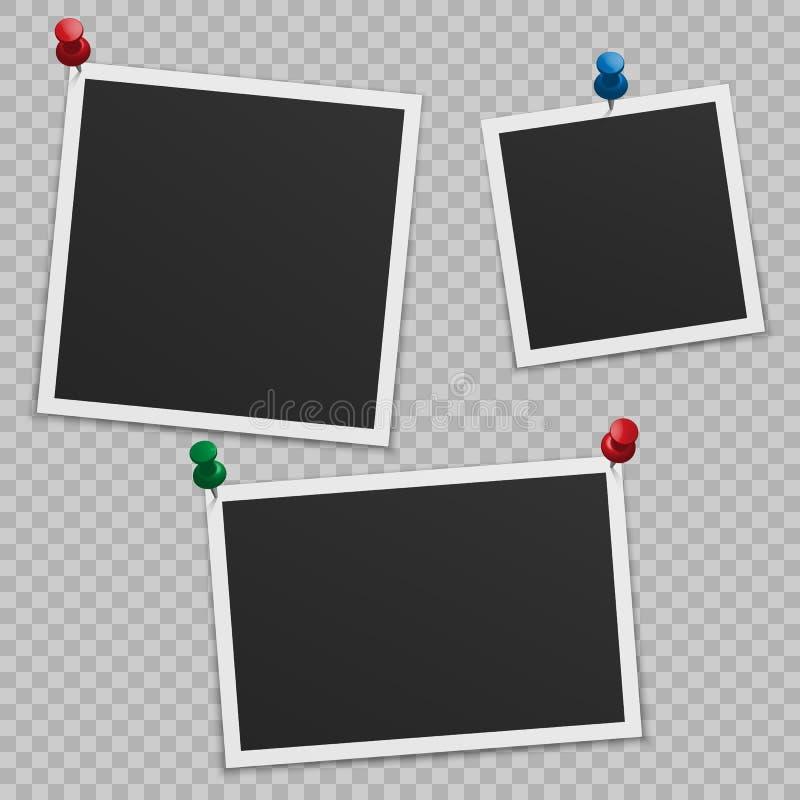 Σύνολο κενών πλαισίων φωτογραφιών με τη σκιά, με τα κουμπιά απεικόνιση αποθεμάτων