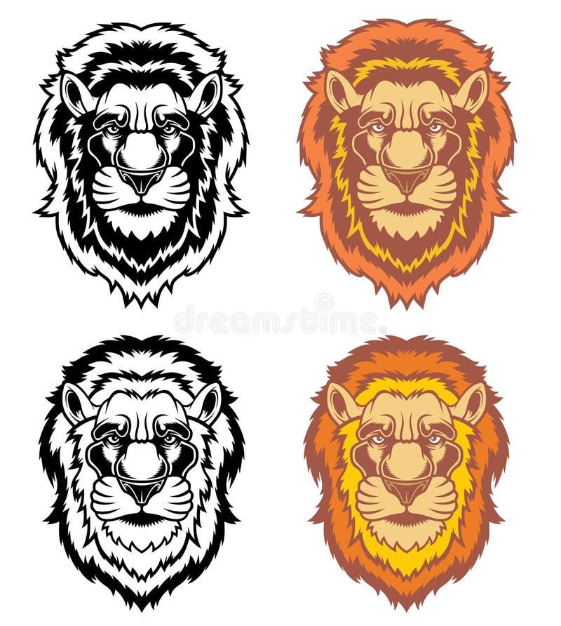 Σύνολο κεφαλιών λιονταριών ελεύθερη απεικόνιση δικαιώματος
