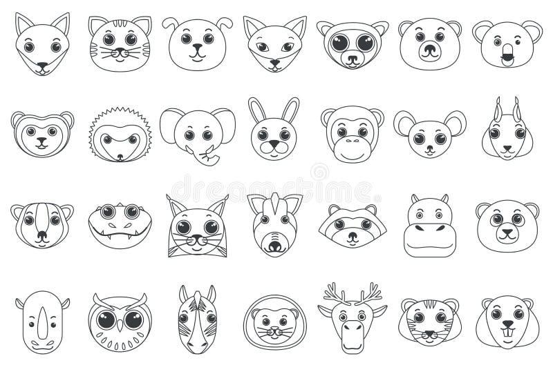 Σύνολο κεφαλιών περιλήψεων γραμμών των ανάμεικτων άγριων και κατοικίδιων ζώων στη διανυσματική απεικόνιση ύφους κινούμενων σχεδίω διανυσματική απεικόνιση