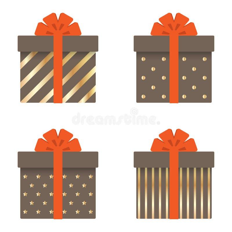 Σύνολο κιβωτίων δώρων με τις κορδέλλες, τα τόξα, τα χρυσά λωρίδες, τους κύκλους και τα αστέρια επίσης corel σύρετε το διάνυσμα απ απεικόνιση αποθεμάτων