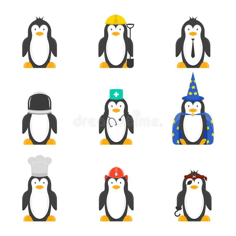 Σύνολο κινούμενων σχεδίων penguins με τα διάφορα επαγγέλματα Διανυσματικό στρέθιμο της προσοχής στο άσπρο υπόβαθρο ελεύθερη απεικόνιση δικαιώματος
