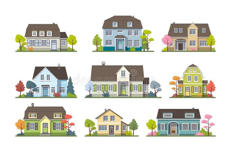 Σύνολο κλασικού σπιτιού εξοχικών σπιτιών, μπροστινή άποψη ελεύθερη απεικόνιση δικαιώματος