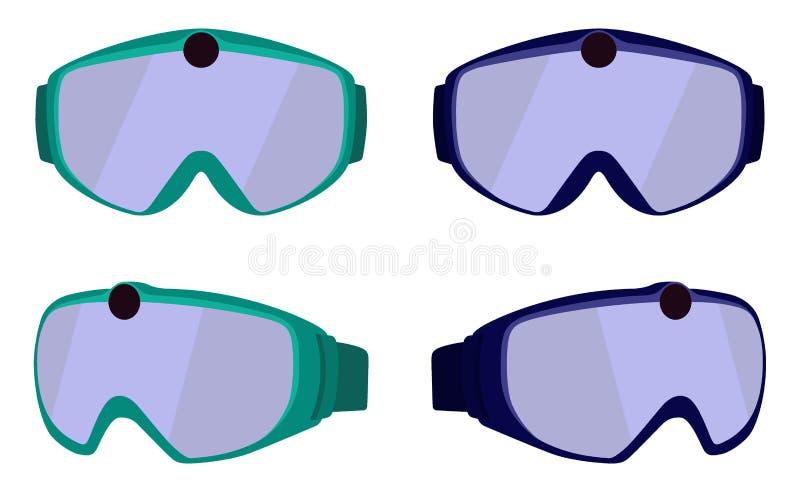 Σύνολο κλασικών γυαλιών σκι και σνόουμπορντ με τα χρωματισμένα πλαίσια Προστατευτικά δίοπτρα με την ενσωματωμένη κάμερα δράσης Δι απεικόνιση αποθεμάτων