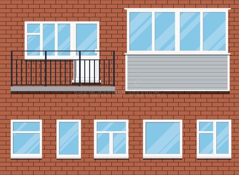 Σύνολο κλειστών πλαστικών παραθύρων PVC και μιας διανυσματικής απεικόνισης μπαλκονιών απεικόνιση αποθεμάτων