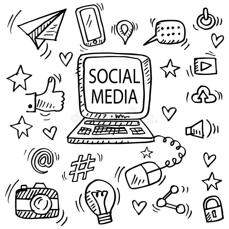 Σύνολο κοινωνικών μέσων doodle απεικόνιση αποθεμάτων