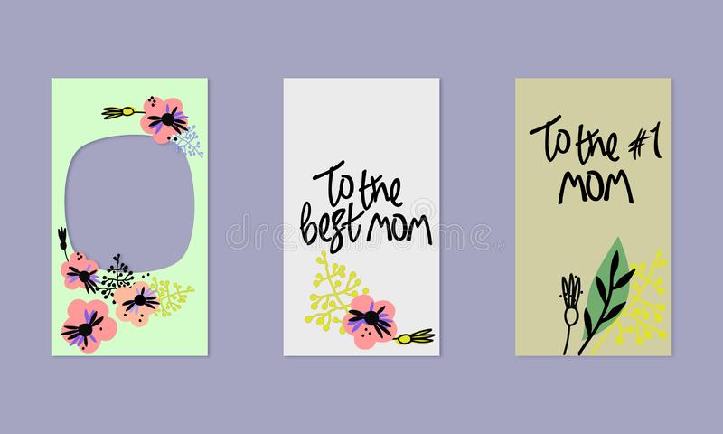 Σύνολο κοινωνικών προτύπων ιστοριών μέσων Floral υπόβαθρο στο Σκανδιναβικό ύφος Hand-drawn χαιρετισμοί Στο καλύτερο mom ελεύθερη απεικόνιση δικαιώματος