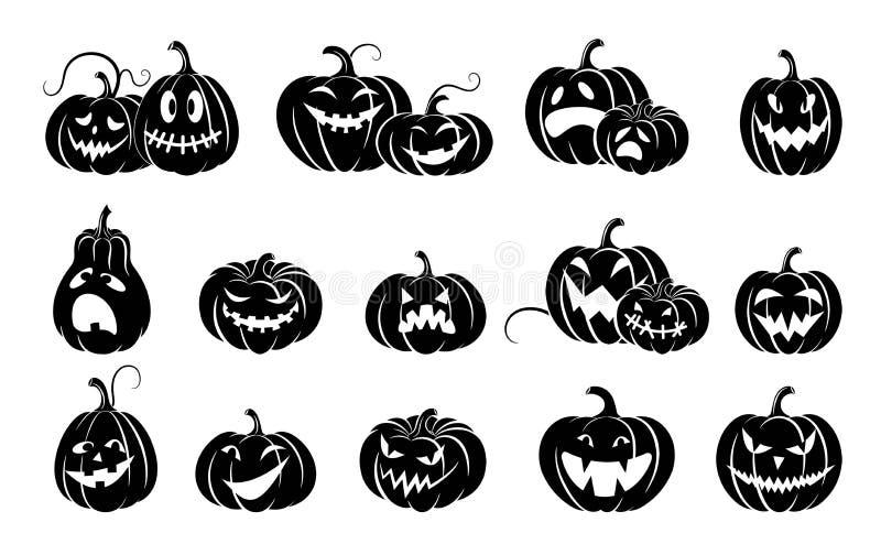 Σύνολο κολοκυθών αποκριών Ποικιλία που τρομοκρατεί τις τρομακτικές κολοκύθες Σκιαγραφία που απομονώνεται μαύρη απεικόνιση αποθεμάτων