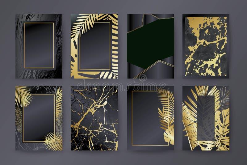 Σύνολο κομψού φυλλάδιου, κάρτα, υπόβαθρο, κάλυψη Μαύρη και χρυσή μαρμάρινη σύσταση Φοίνικας, εξωτικά φύλλα διανυσματική απεικόνιση