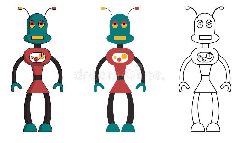 Σύνολο κοριτσιού ρομπότ στο διαφορετικό ύφος Απομονωμένη διανυσματική απεικόνιση αποθεμάτων απεικόνιση αποθεμάτων